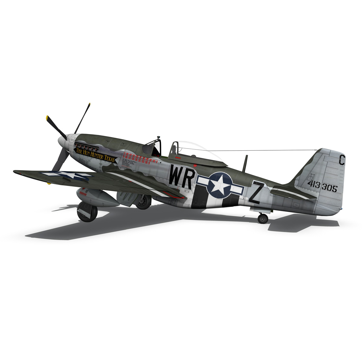 north american p-51d – the hun hunter / texas 3d model fbx c4d lwo obj 282538