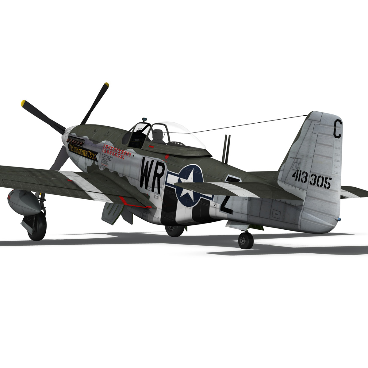 north american p-51d – the hun hunter / texas 3d model fbx c4d lwo obj 282539