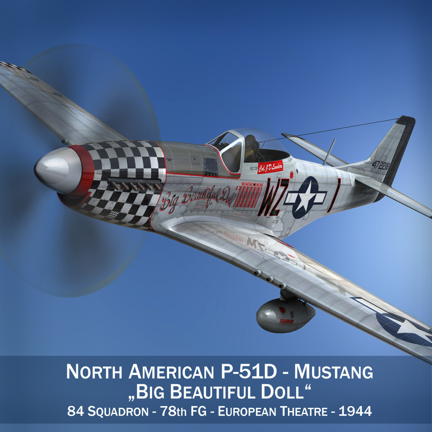 north american p-51d mustang – big beautiful doll 3d model fbx c4d lwo obj 282552