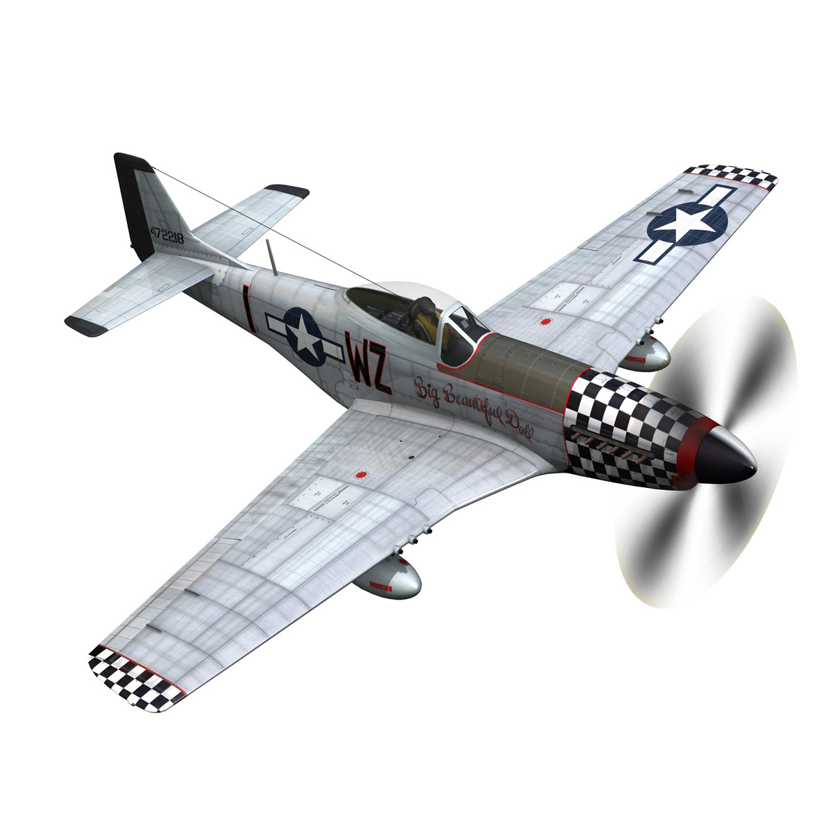 north american p-51d mustang – big beautiful doll 3d model fbx c4d lwo obj 282558