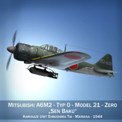 Mitsubishi A6M2 Sen Baku - Kamikaze Unit 3d model high poly virtual reality fbx c4d lwo lws lw obj
