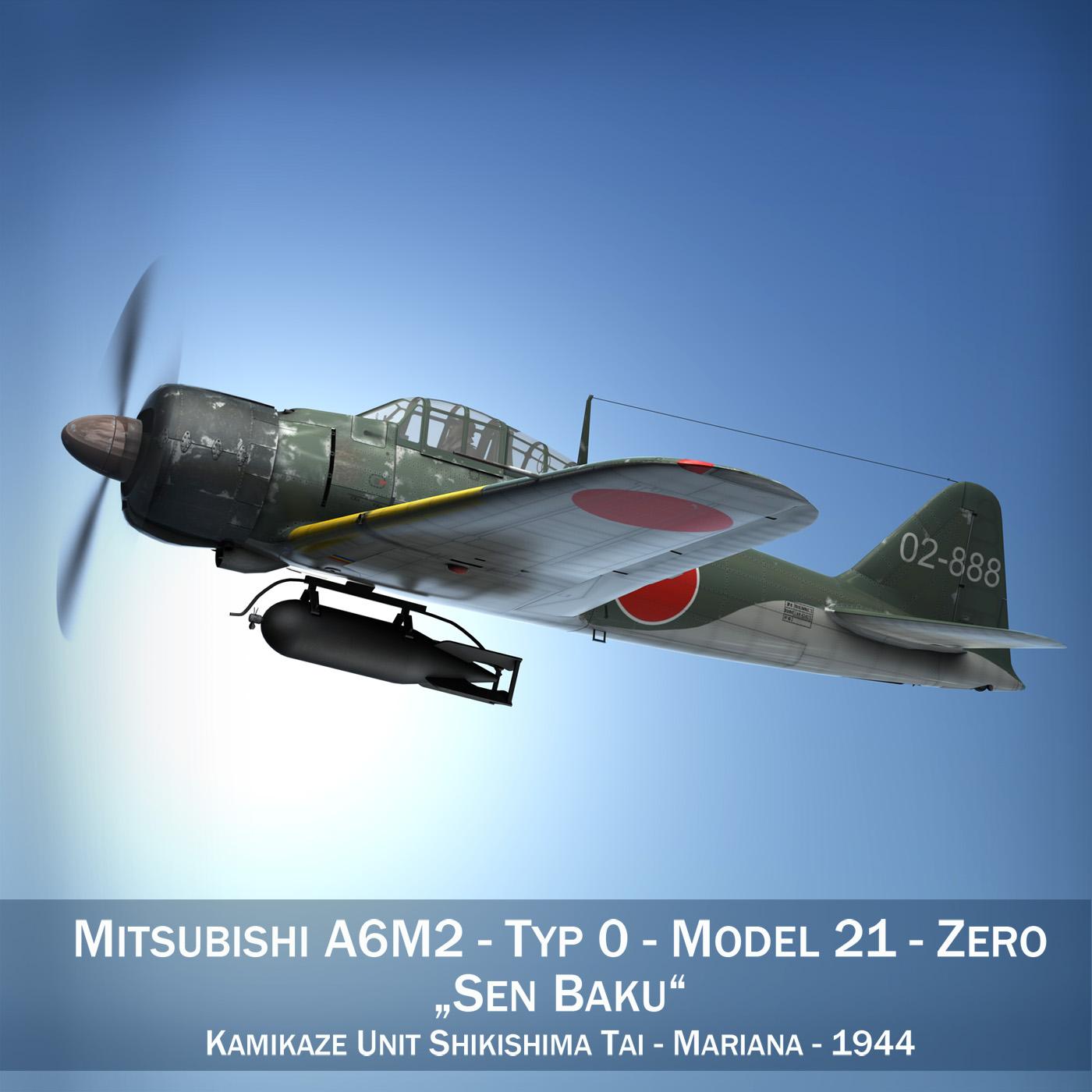 mitsubishi a6m2 sen baku – kamikaze unit 3d model fbx c4d lwo obj 282577