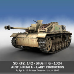 StuG III - Ausf.G - 1024 - Early Production 3d model high poly virtual reality 3ds fbx c4d lwo lws lw obj