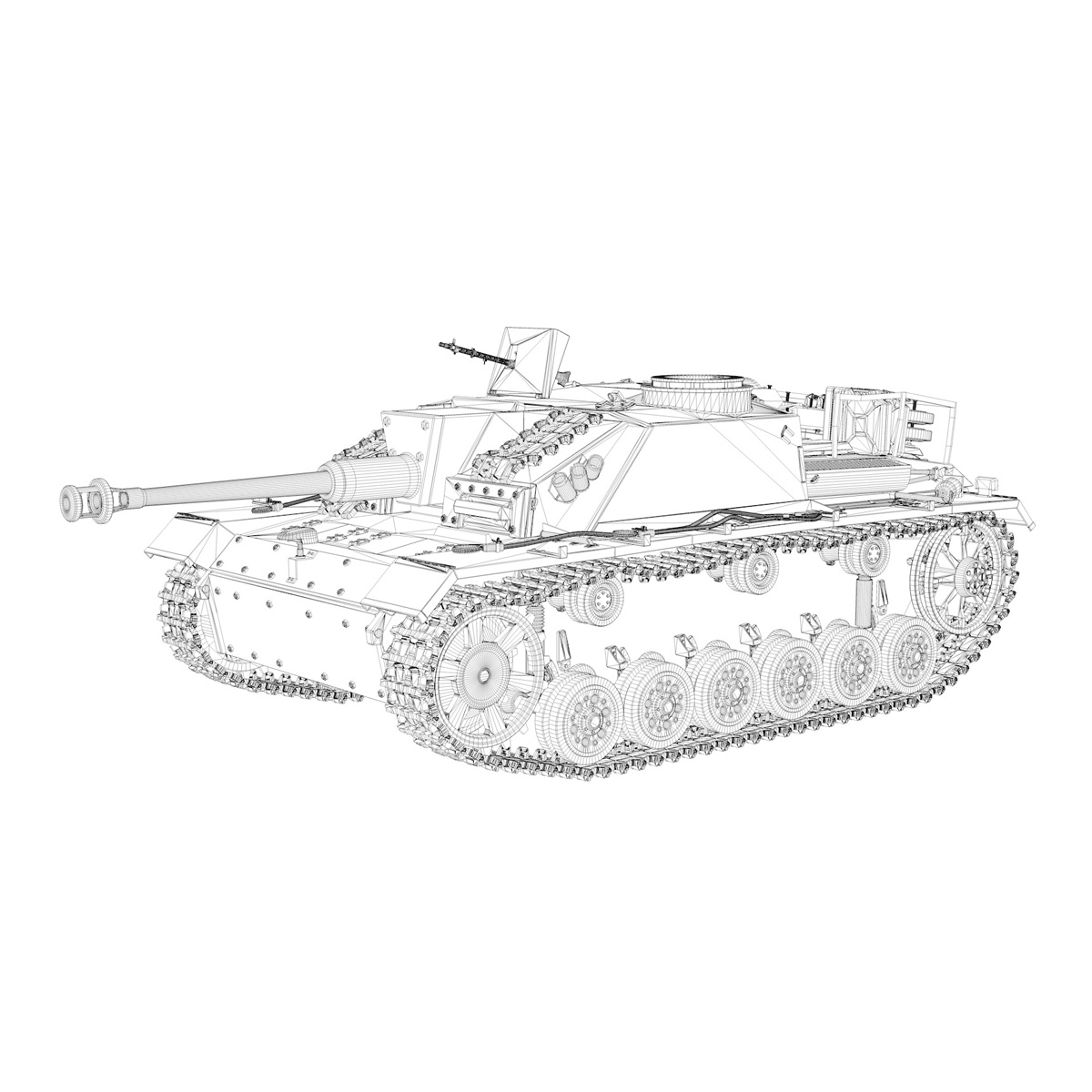 stug iii – ausf.g – 1024 – early production 3d model 3ds fbx c4d lwo obj 282614