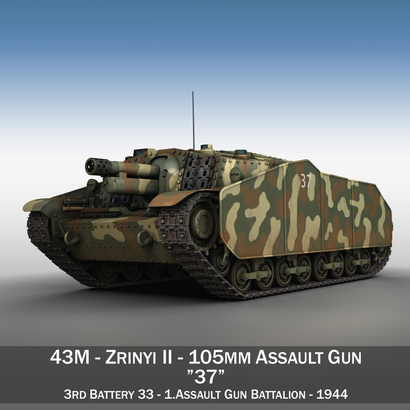 43m zrinyi ii – assault gun – 3rd battery 37 3d model 3ds fbx c4d lwo obj 282622