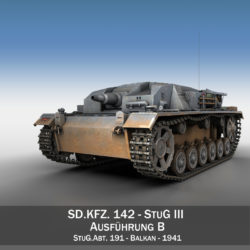 StuG III - Ausf.B - StuG Abt 191 3d model high poly virtual reality 3ds fbx c4d lwo lws lw obj