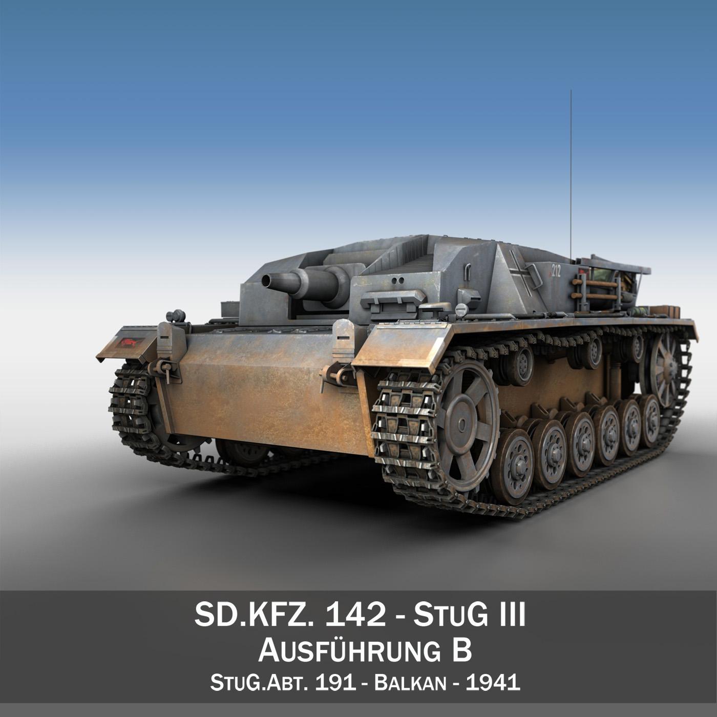 StuG III - Ausf.B - StuG Abt 191 3d model 3ds fbx c4d lwo lws lw obj 282644