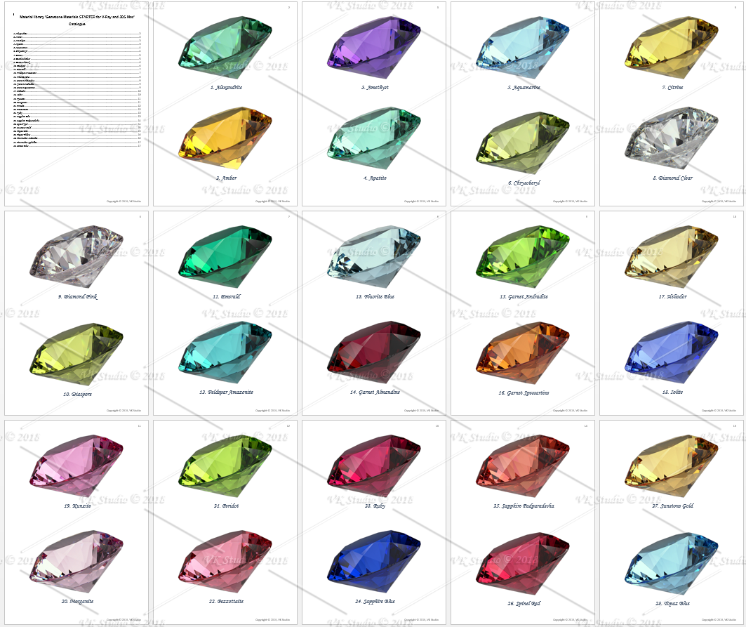 gemstone materials starter for v-ray and 3ds max 3d model max  283383