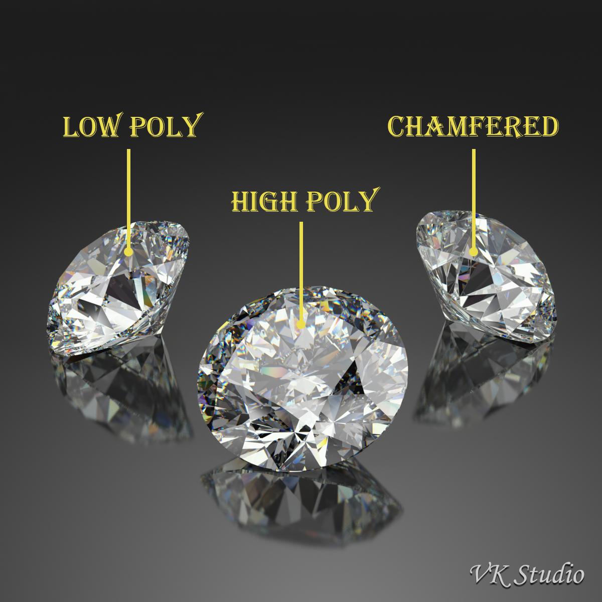 Round Diamond Brilliant Faceting Ideal Cut 3d model 3ds max dxf dwg fbx c4d ma mb   obj 283534