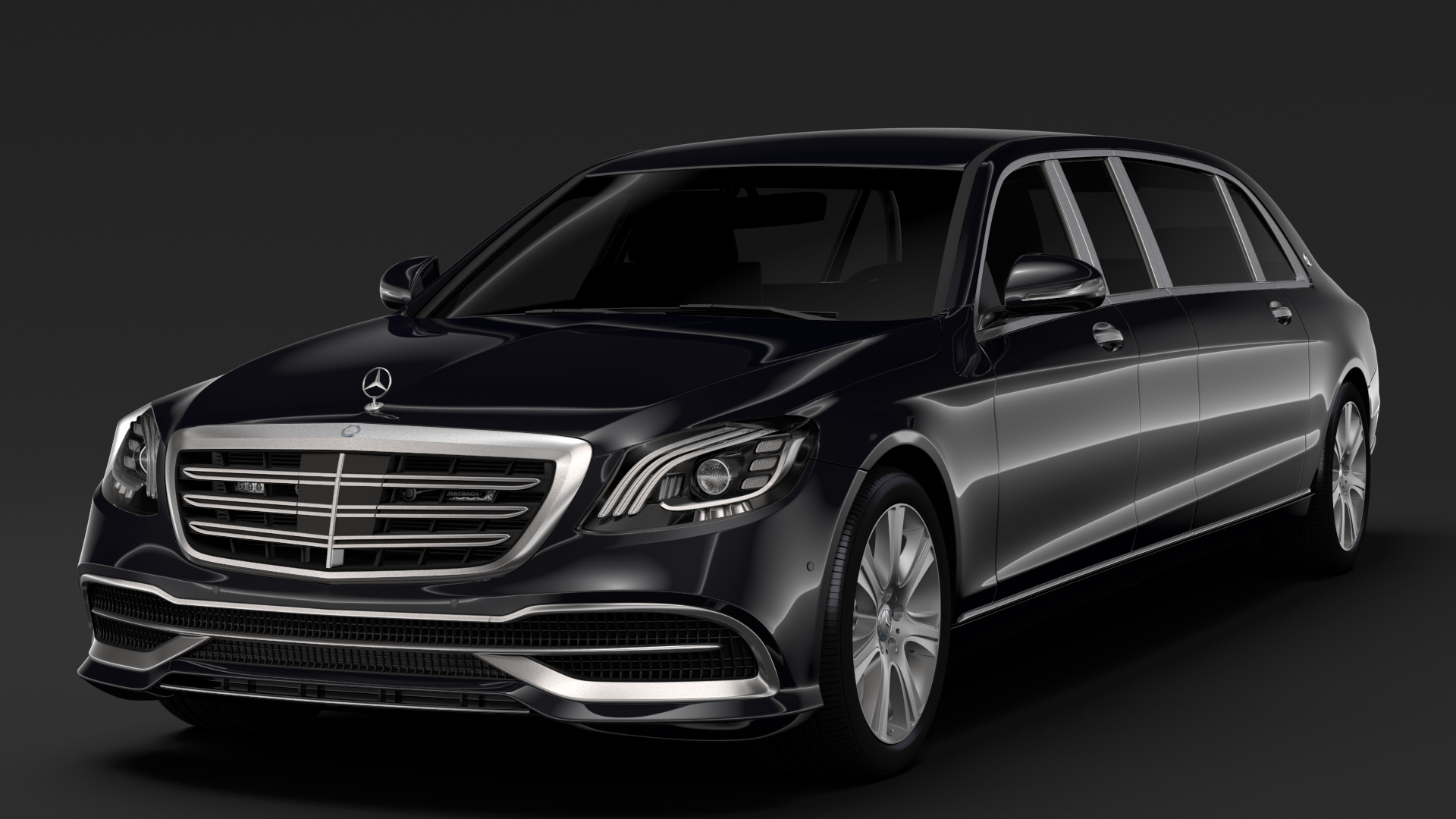 Mercedes Maybach S 650 Pullman Guard VV222 2018 3d model 3ds max fbx c4d lwo ma mb hrc xsi obj 283952