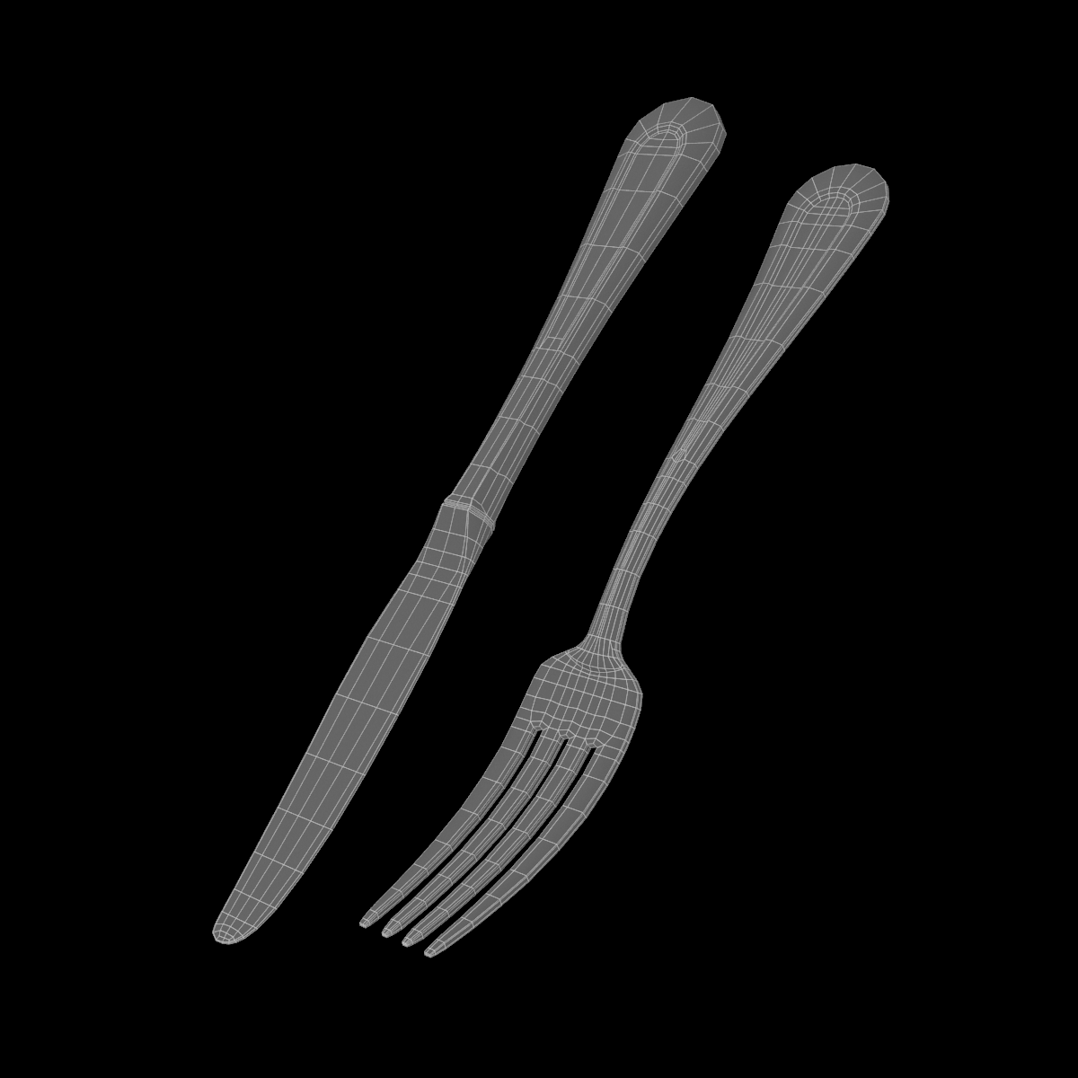 table dinner knife and fork classic cutlery 3d model 3ds max fbx c4d ma mb obj 284034