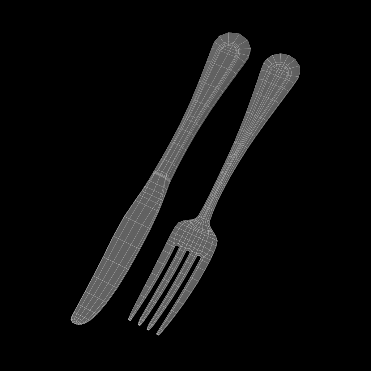 table dinner knife and fork classic cutlery 3d model 3ds max fbx c4d ma mb obj 284036