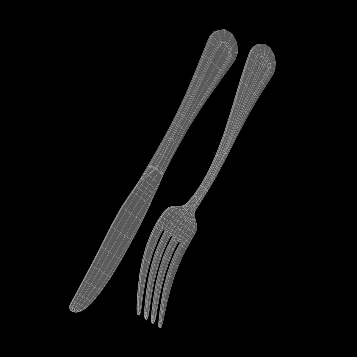 table dinner knife and fork classic cutlery 3d model 3ds max fbx c4d ma mb obj 284038