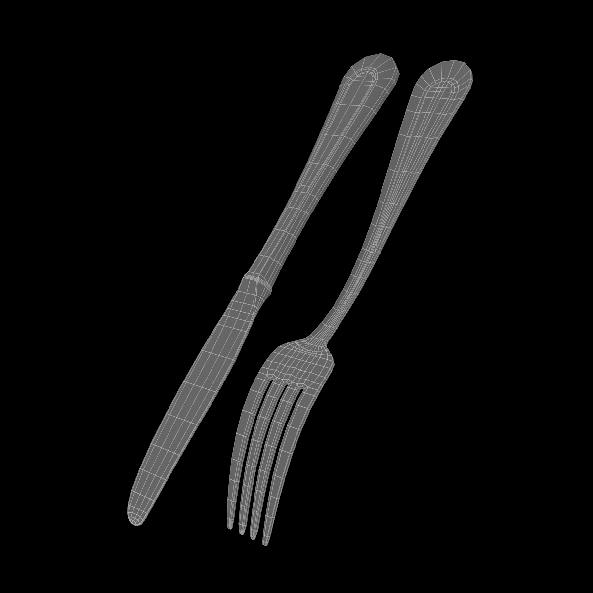 table dinner knife and fork classic cutlery 3d model 3ds max fbx c4d ma mb obj 284042