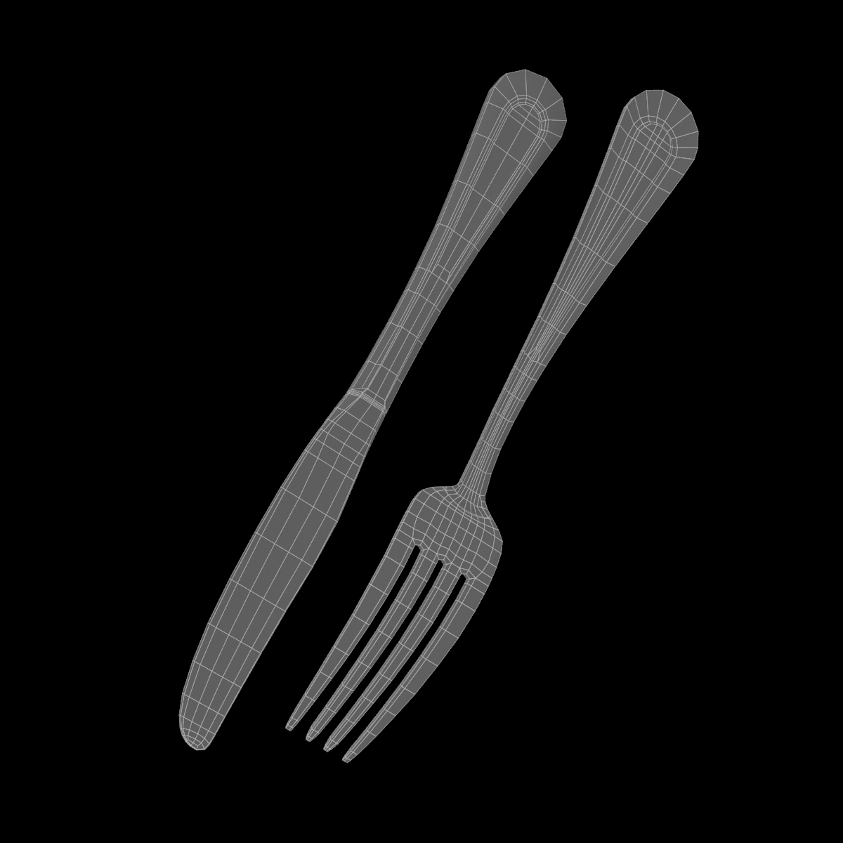 table dinner knife and fork classic cutlery 3d model 3ds max fbx c4d ma mb obj 284044