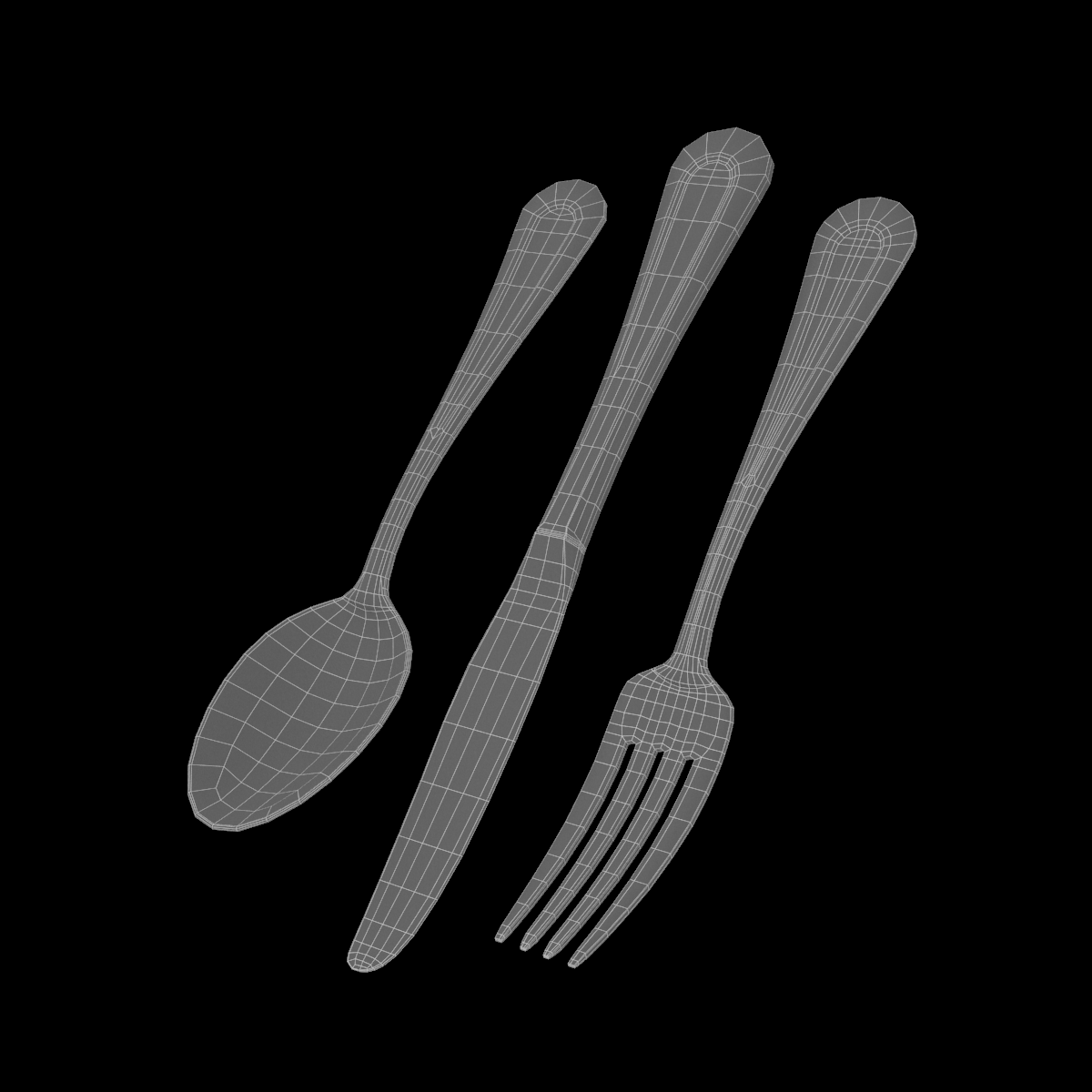 table dinner knife, fork, spoon classic cutlery 3d model 3ds max fbx c4d ma mb  obj 284625