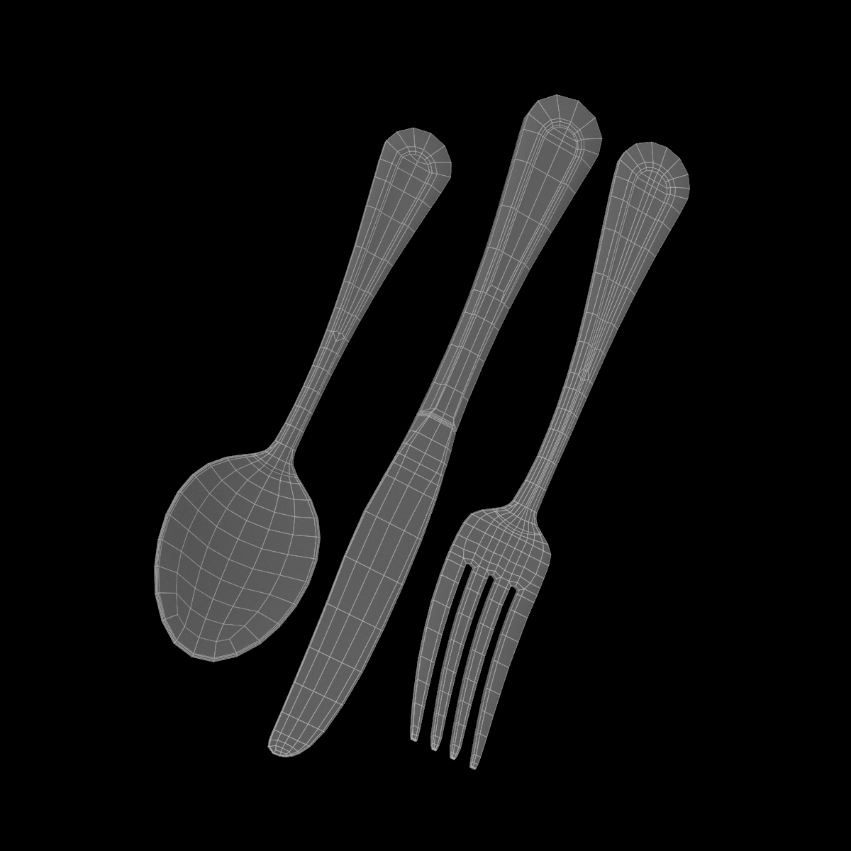 table dinner knife, fork, spoon classic cutlery 3d model 3ds max fbx c4d ma mb  obj 284627