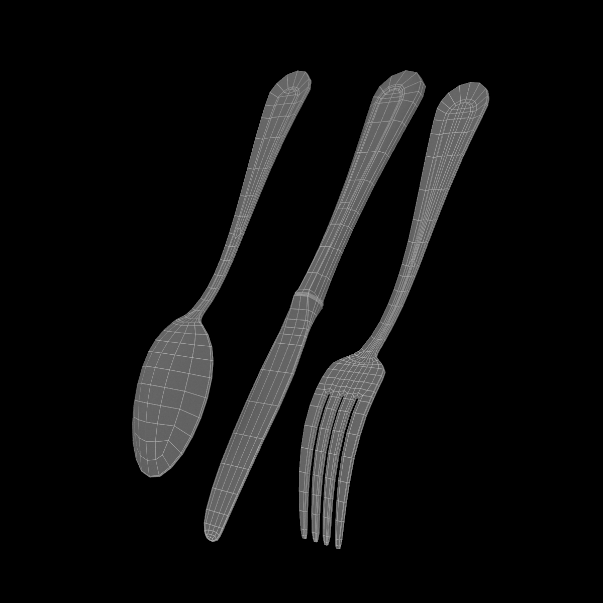 table dinner knife, fork, spoon classic cutlery 3d model 3ds max fbx c4d ma mb  obj 284631