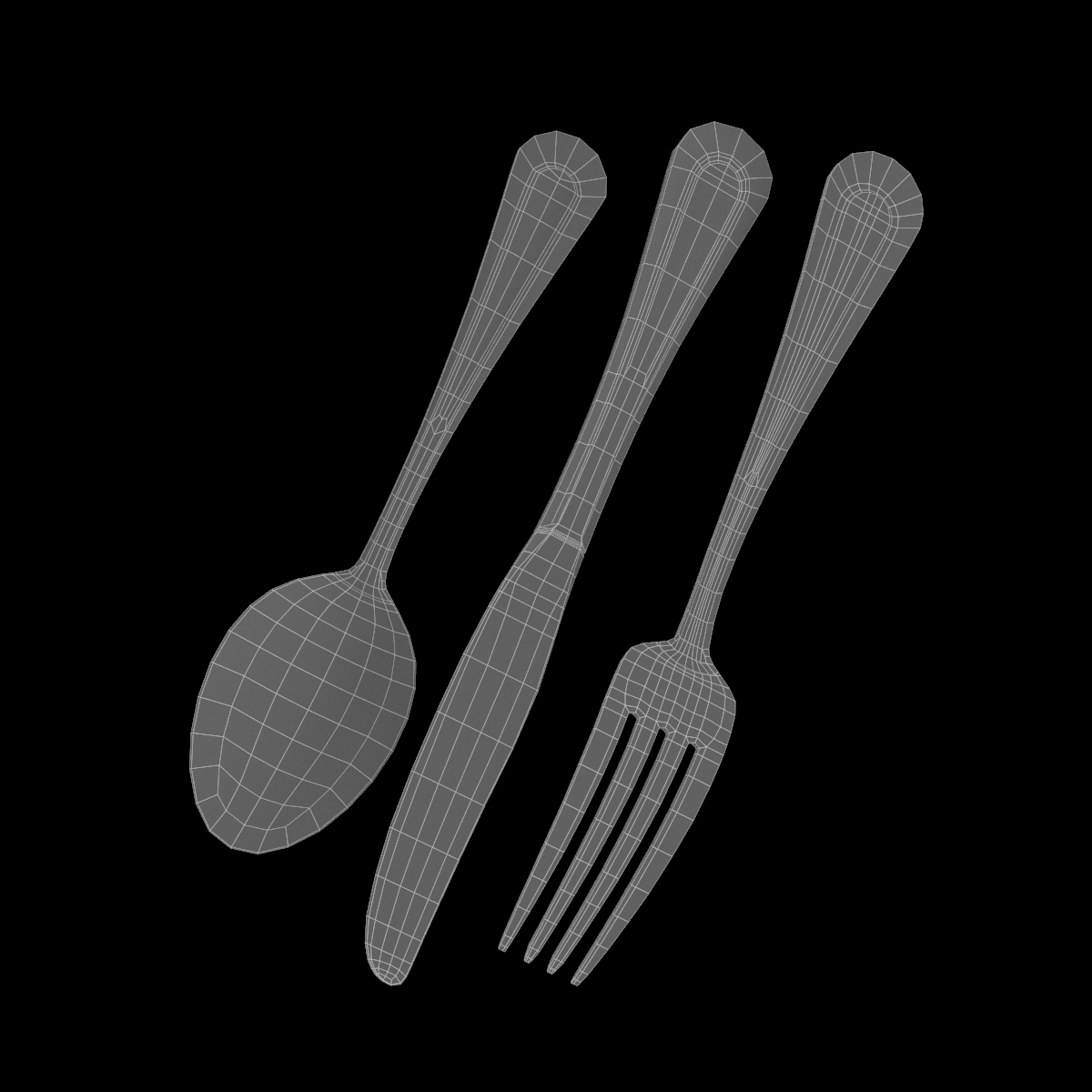 table dinner knife, fork, spoon classic cutlery 3d model 3ds max fbx c4d ma mb  obj 284633
