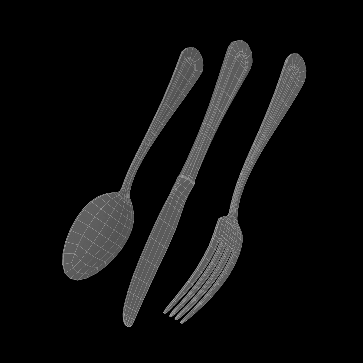 table dinner knife, fork, spoon classic cutlery 3d model 3ds max fbx c4d ma mb  obj 284635