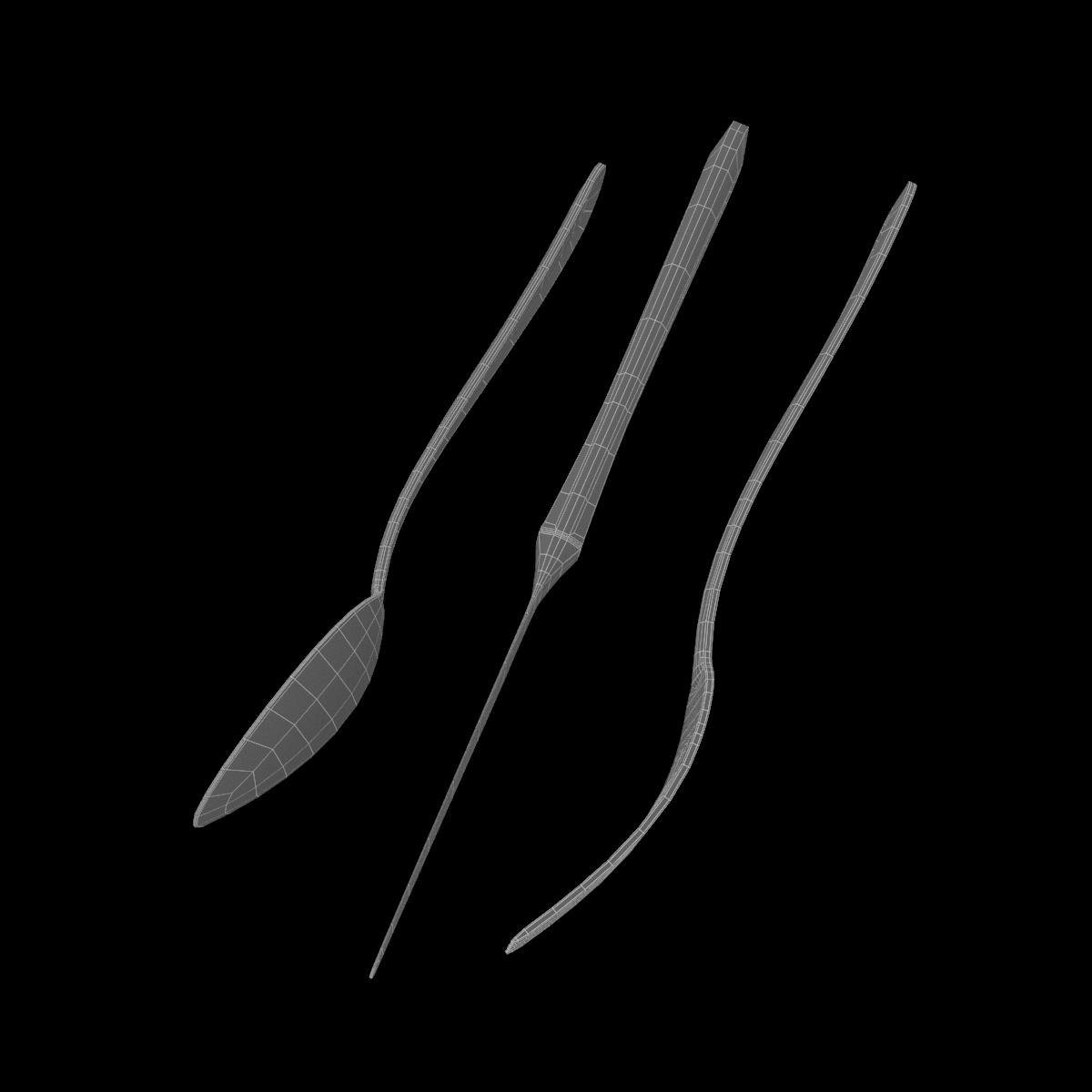 table dinner knife, fork, spoon classic cutlery 3d model 3ds max fbx c4d ma mb  obj 284637