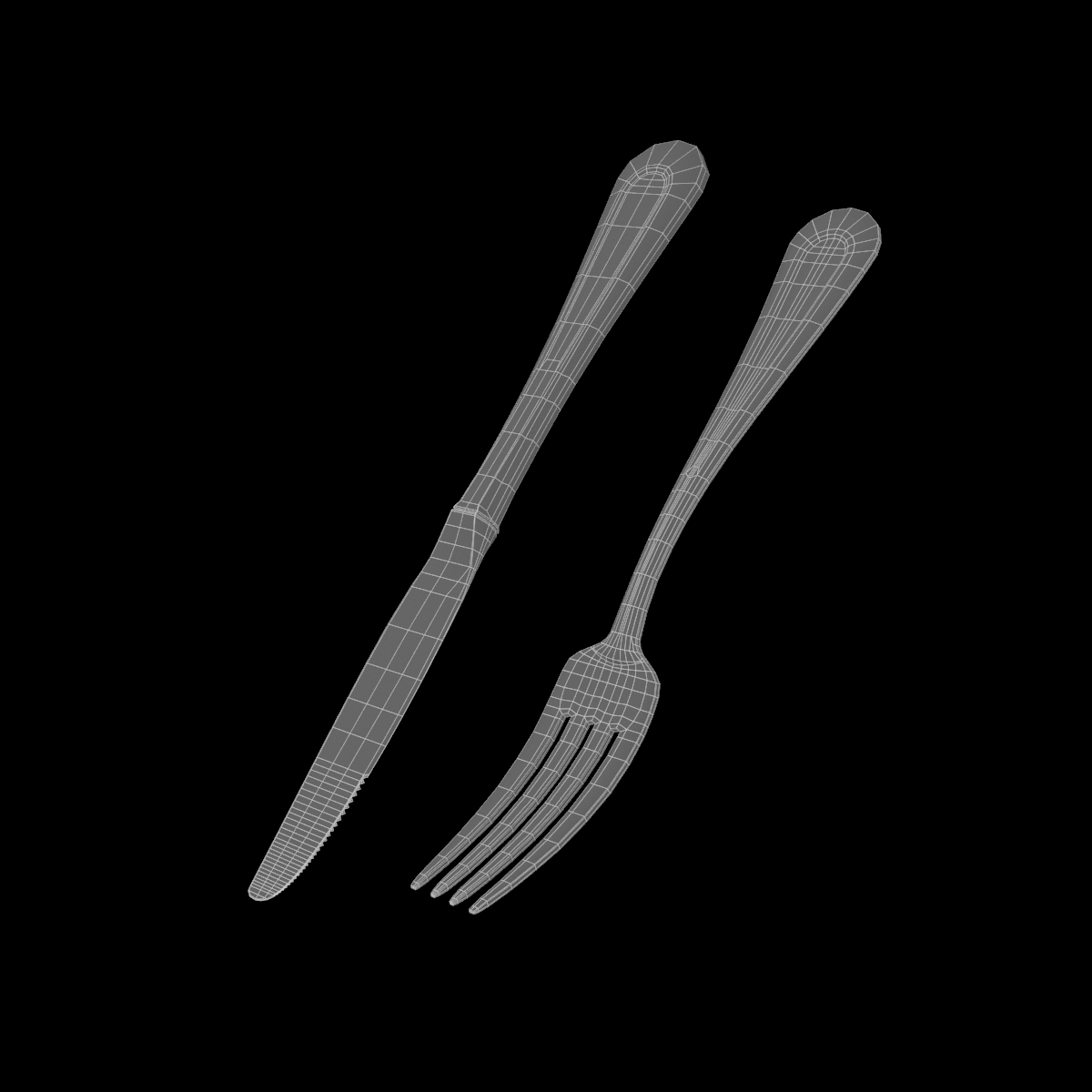 dessert knife and fork classic cutlery 3d model 3ds c4d fbx max max ma mb obj txt png stl 285930