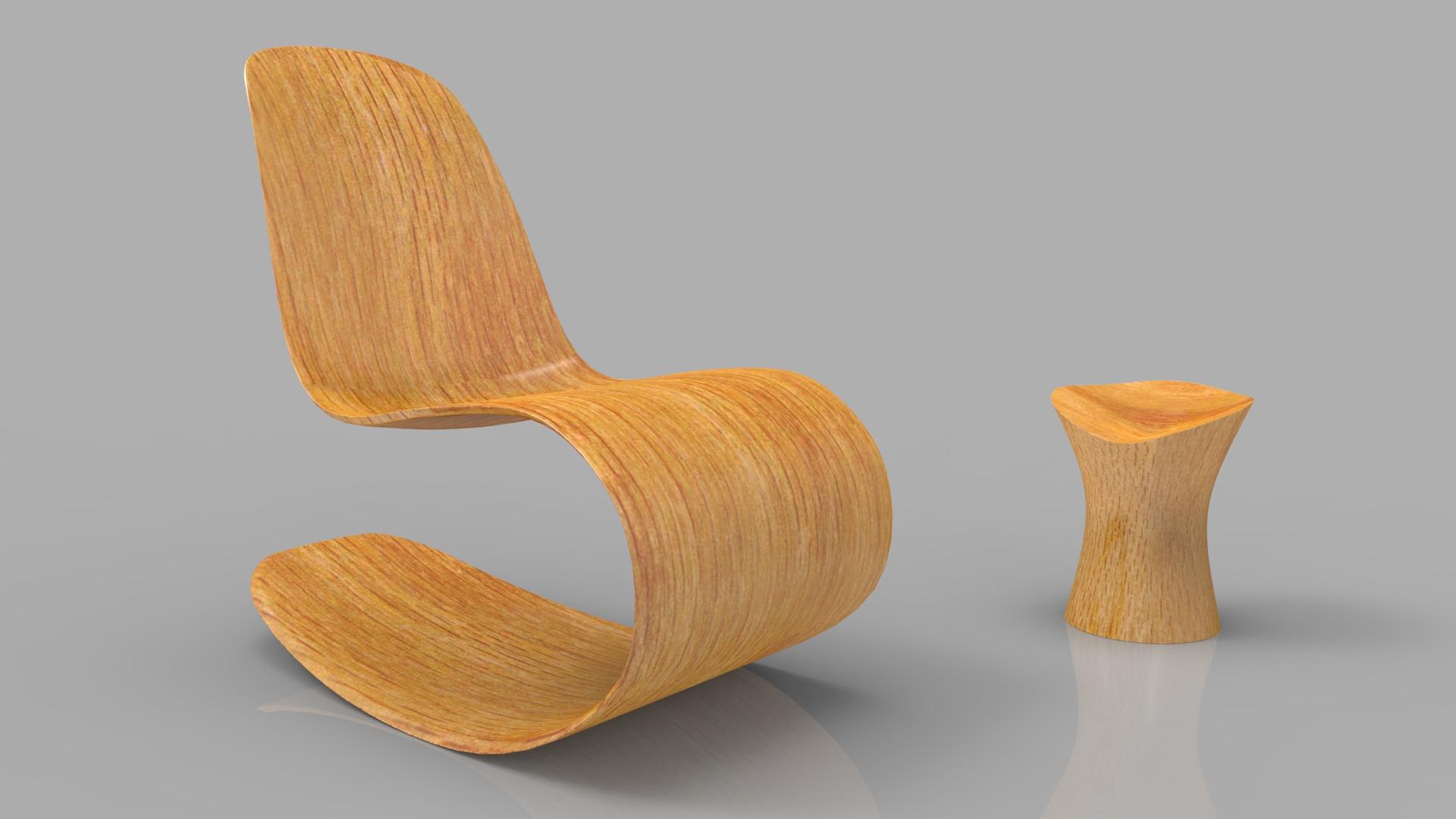 Rocking Wooden Chair 3d model max fbx ma mb obj 286117