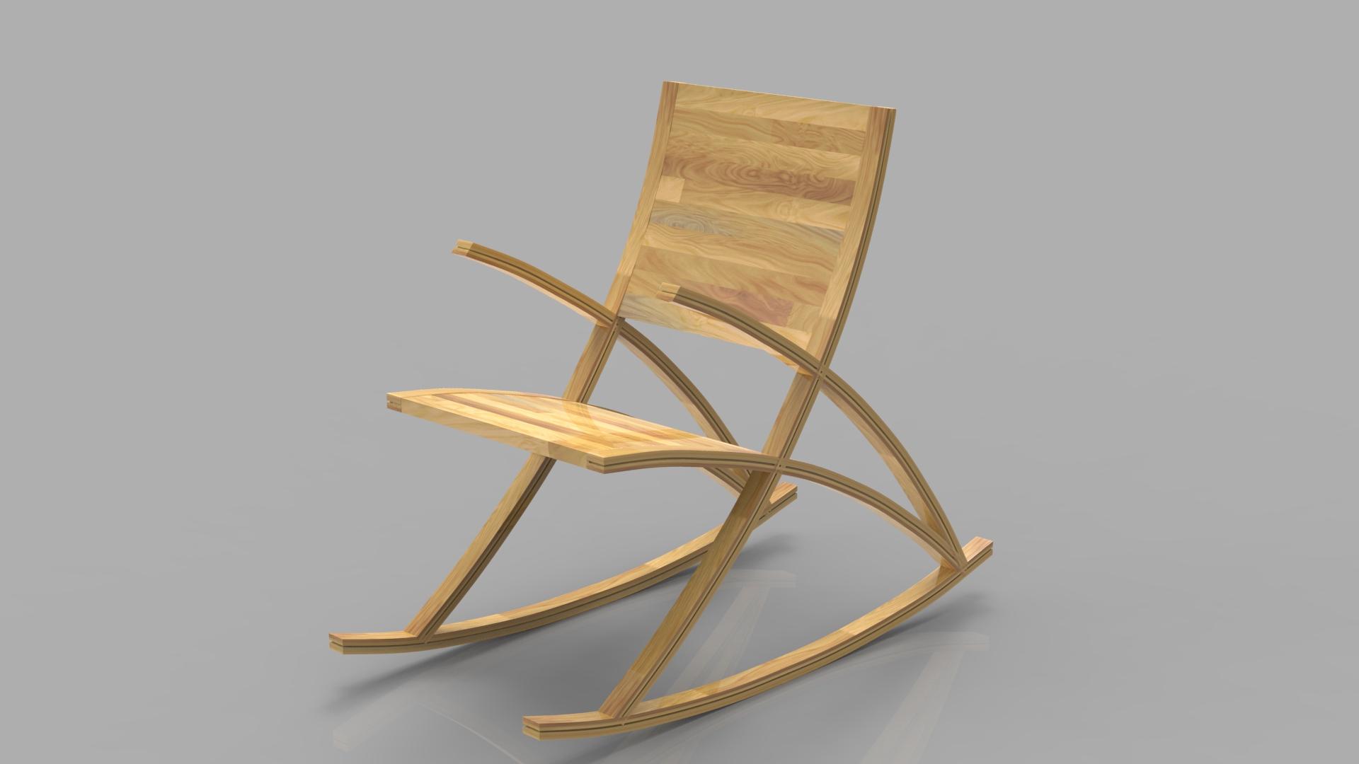 Wishbone Rocking Chair 3d model max 3ds max plugin fbx ma mb obj 286150