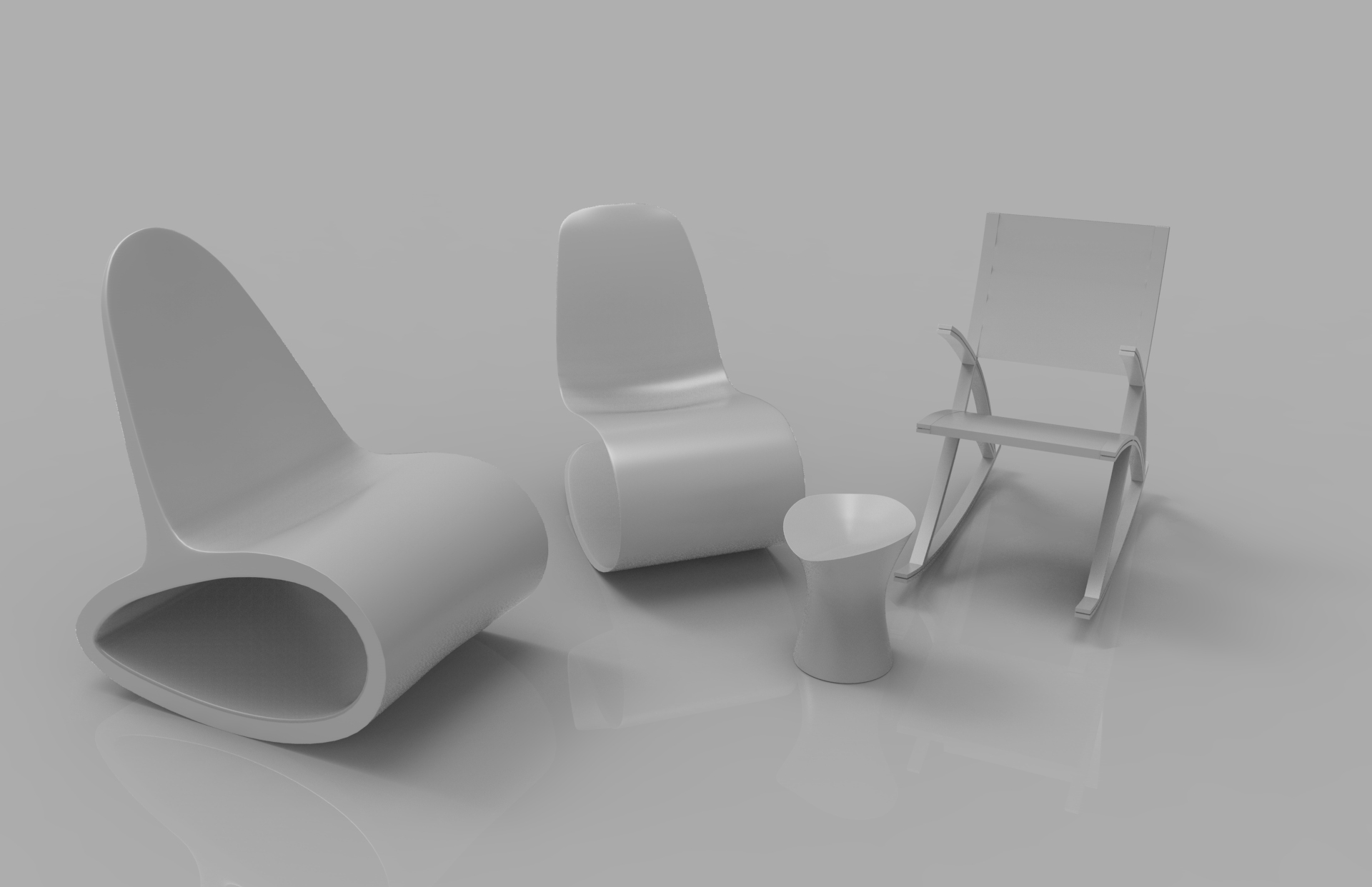 rocking wooden chair collection 3d model max fbx ma mb obj 286166