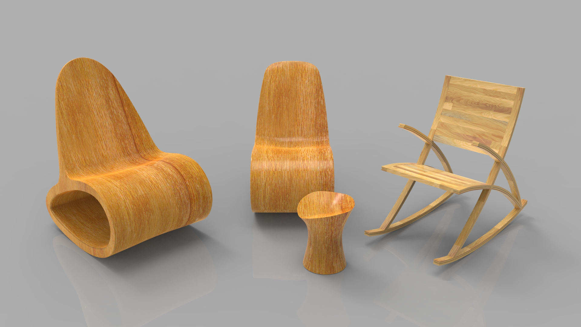 rocking wooden chair collection 3d model max fbx ma mb obj 286168