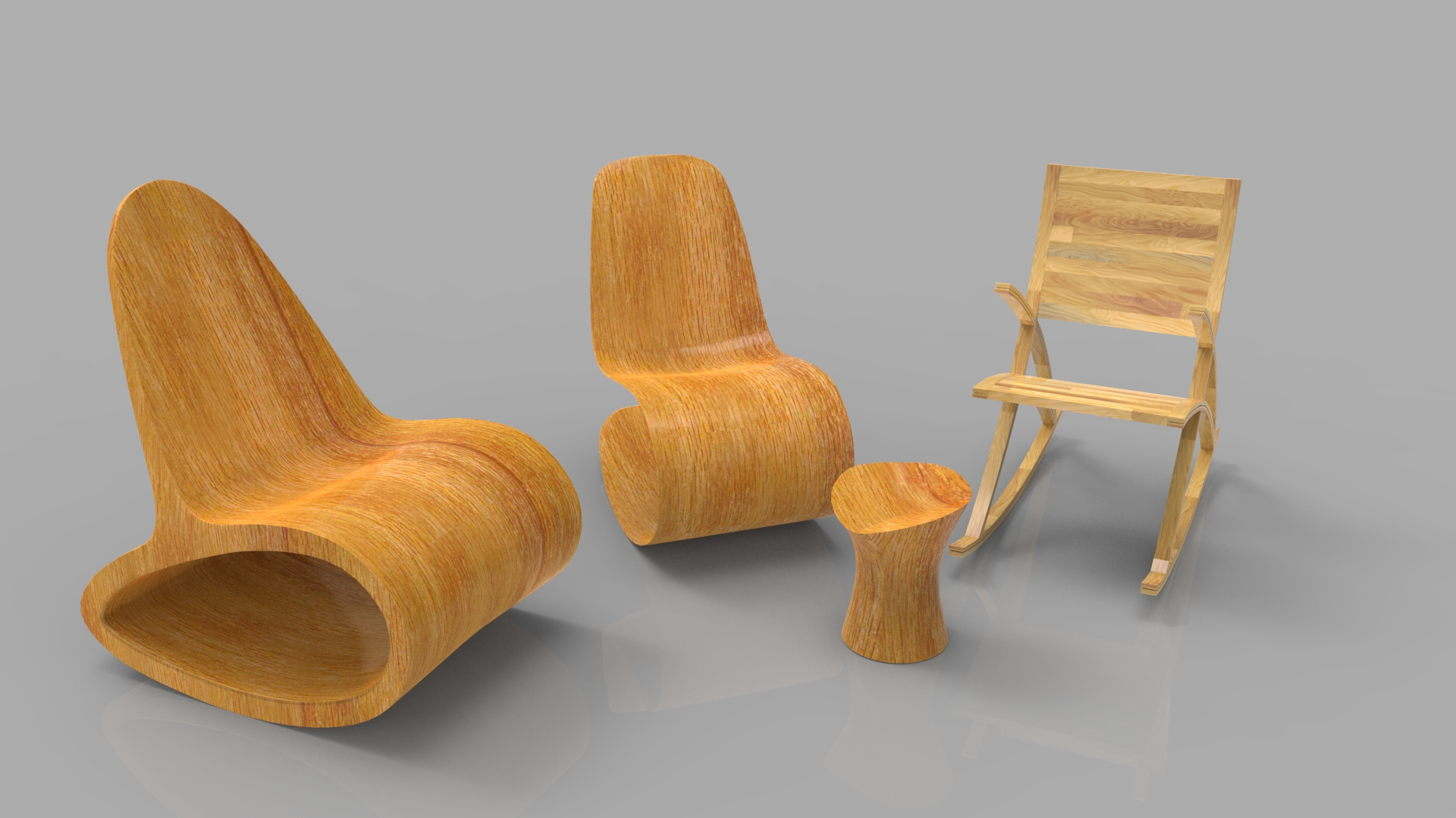 rocking wooden chair collection 3d model max fbx ma mb obj 286170