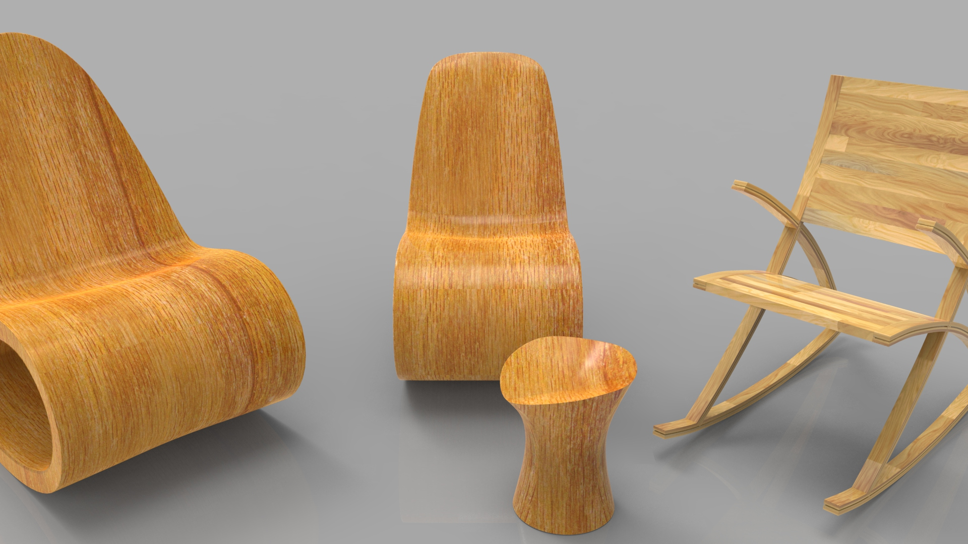rocking wooden chair collection 3d model max fbx ma mb obj 286171
