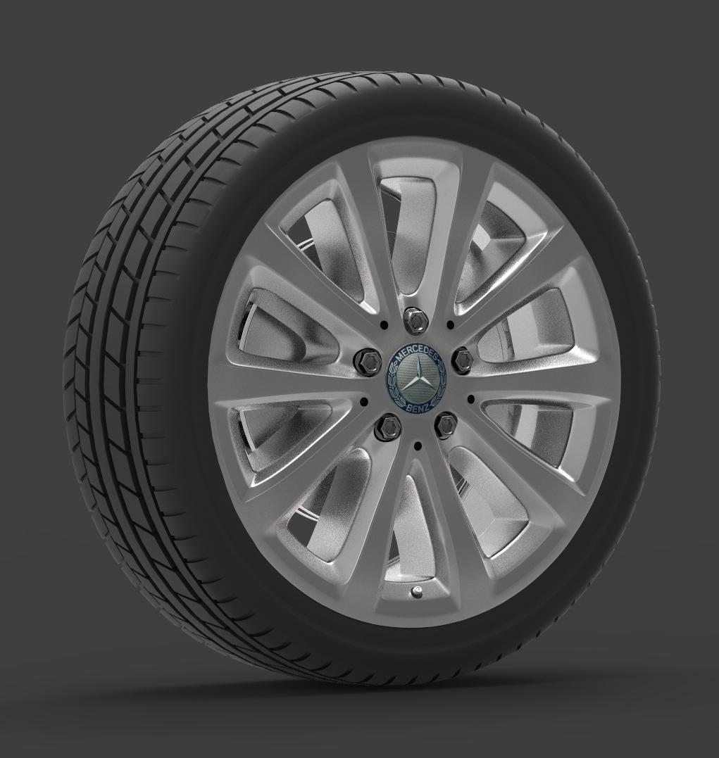 mercedes e 350 d alloy wheel 3d model max fbx ma mb obj 286189