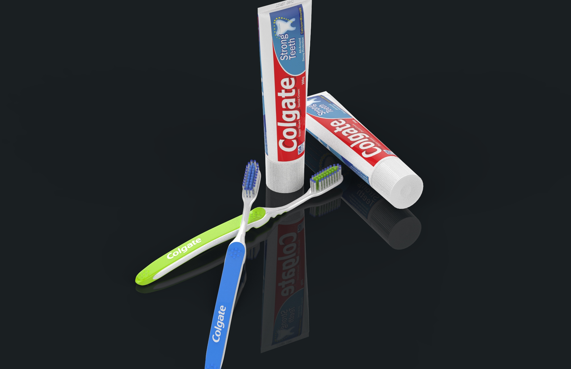 toothbrush with toothpaste 3d model max fbx ma mb obj 286203