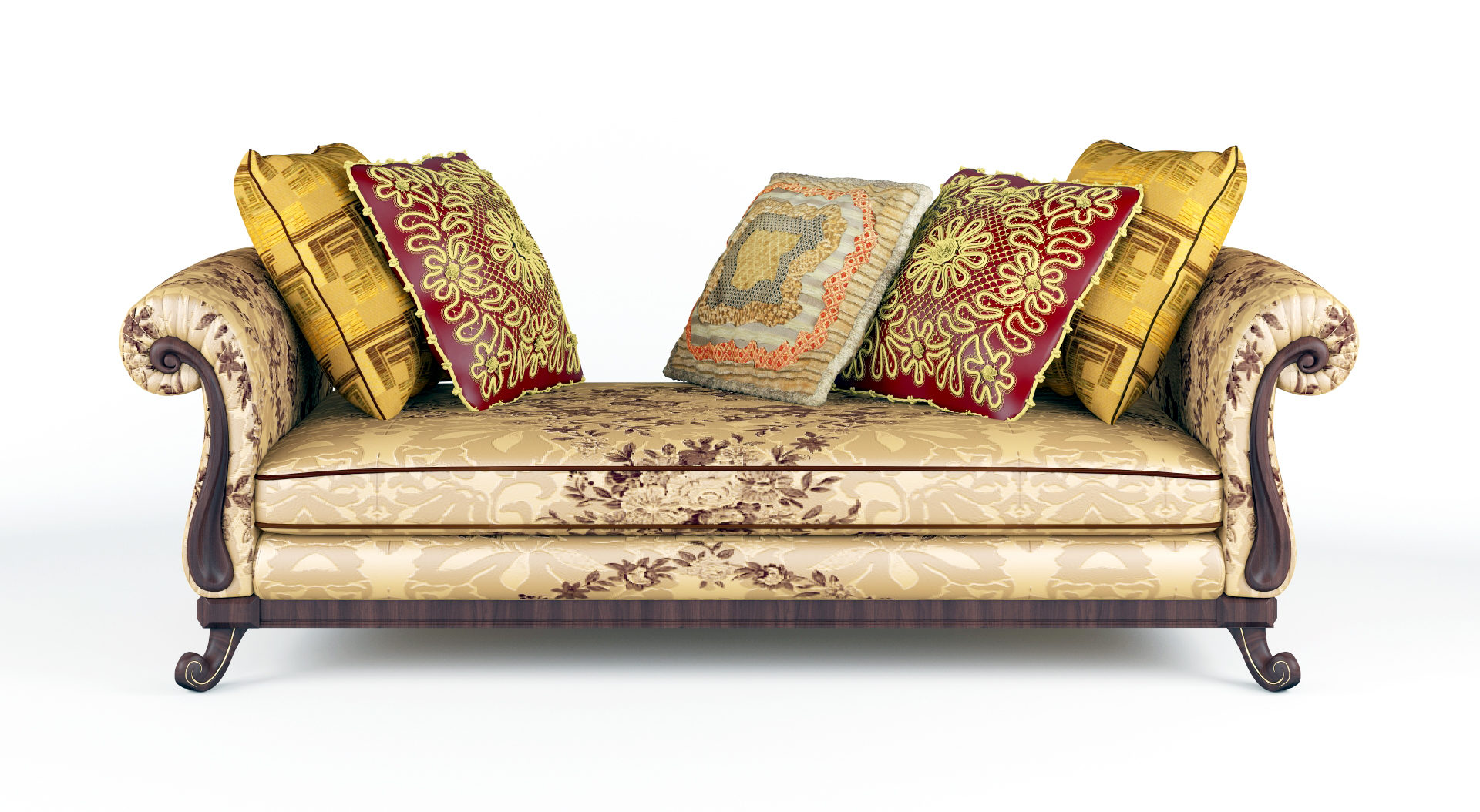 royal sofa with pillows 3d model max fbx ma mb obj 286255