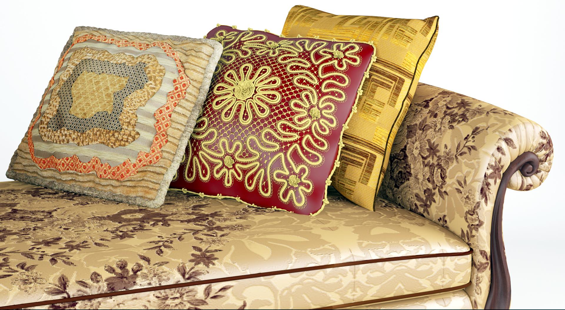 Royal Sofa With Pillows Model Max Fbx Ma Mb Obj 286256