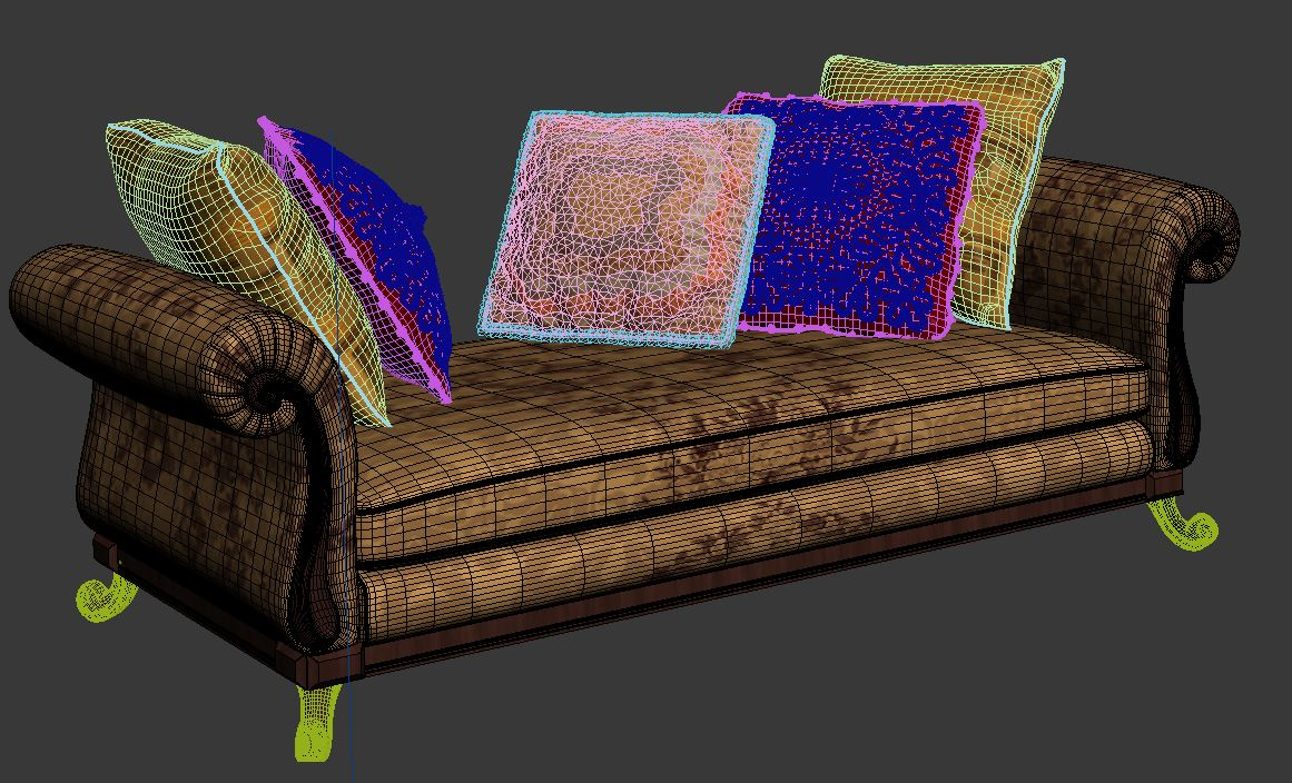 royal sofa with pillows 3d model max fbx ma mb obj 286262