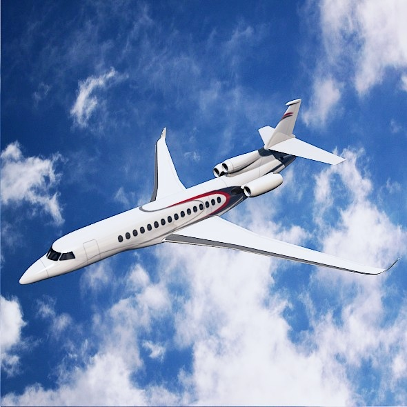 Lowpoly Dassault Falcon 8x private jet 3d model 3ds fbx blend dae lwo lws lw obj 288070