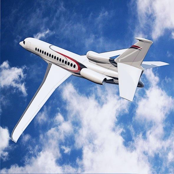 lowpoly dassault falcon 8x private jet 3d model 3ds fbx blend dae lwo obj 288072