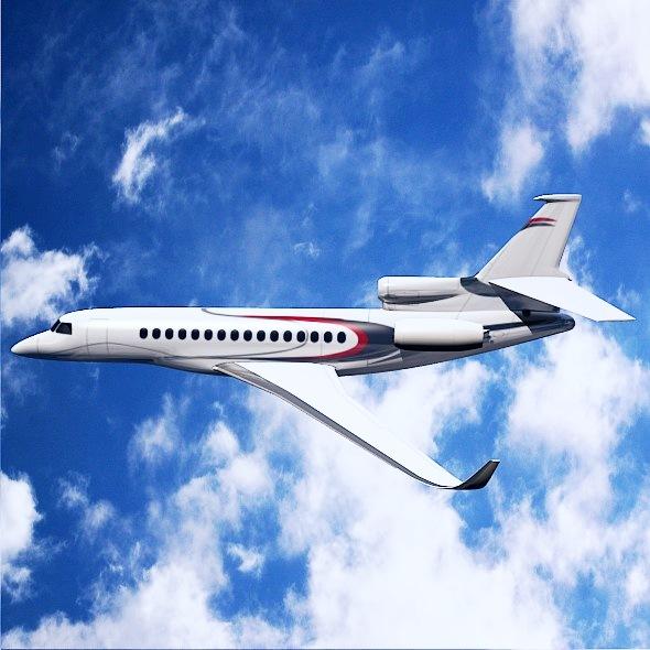 lowpoly dassault falcon 8x private jet 3d model 3ds fbx blend dae lwo obj 288073