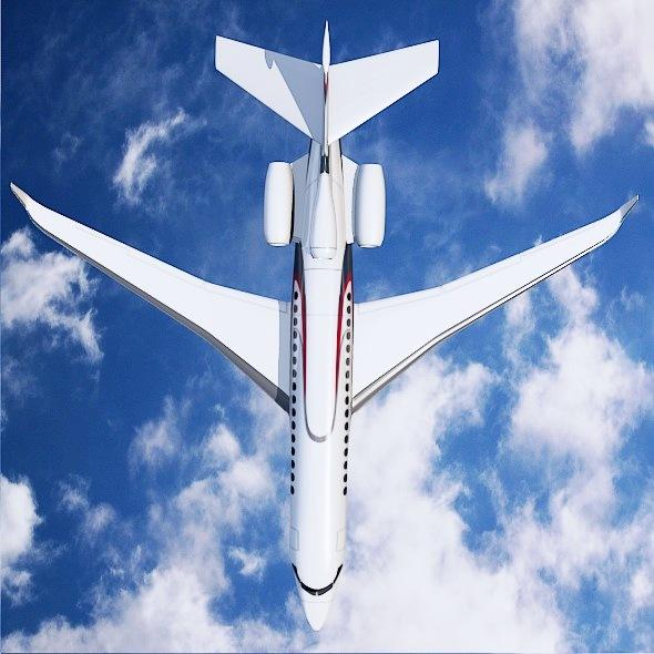 lowpoly dassault falcon 8x private jet 3d model 3ds fbx blend dae lwo obj 288074