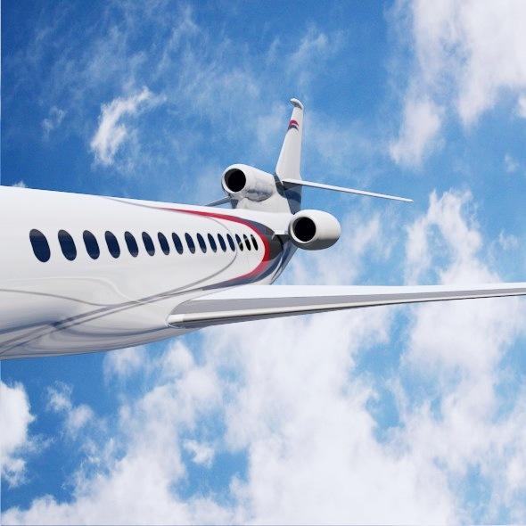 lowpoly dassault falcon 8x private jet 3d model 3ds fbx blend dae lwo obj 288076
