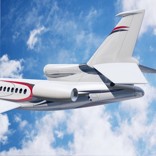 lowpoly dassault falcon 8x private jet 3d model 3ds fbx blend dae lwo obj 288077