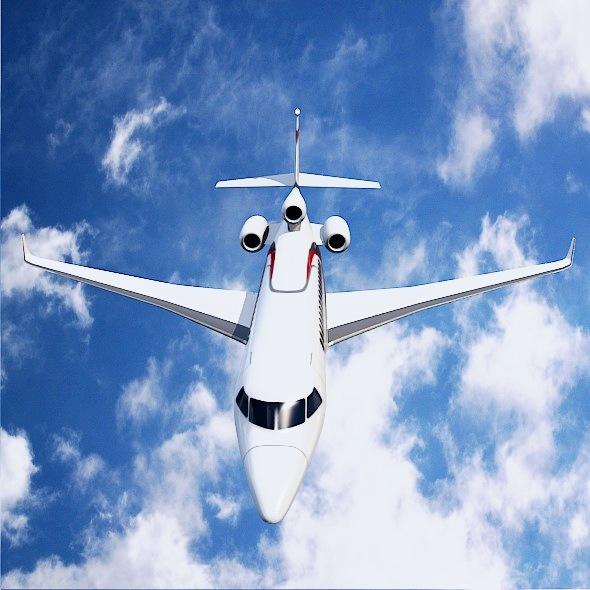 lowpoly dassault falcon 8x private jet 3d model 3ds fbx blend dae lwo obj 288078
