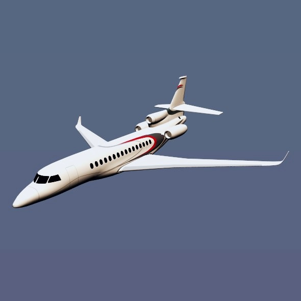 lowpoly dassault falcon 8x private jet 3d model 3ds fbx blend dae lwo obj 288079