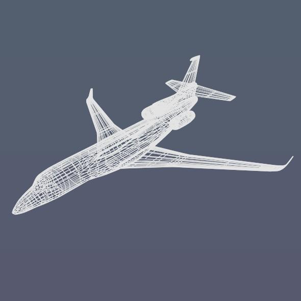 lowpoly dassault falcon 8x private jet 3d model 3ds fbx blend dae lwo obj 288080