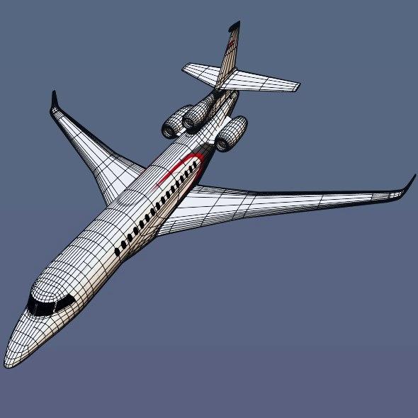 lowpoly dassault falcon 8x private jet 3d model 3ds fbx blend dae lwo obj 288082