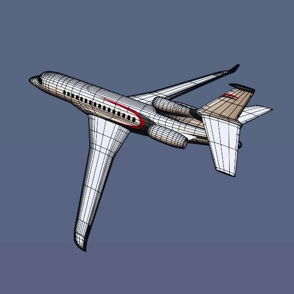 lowpoly dassault falcon 8x private jet 3d model 3ds fbx blend dae lwo obj 288083