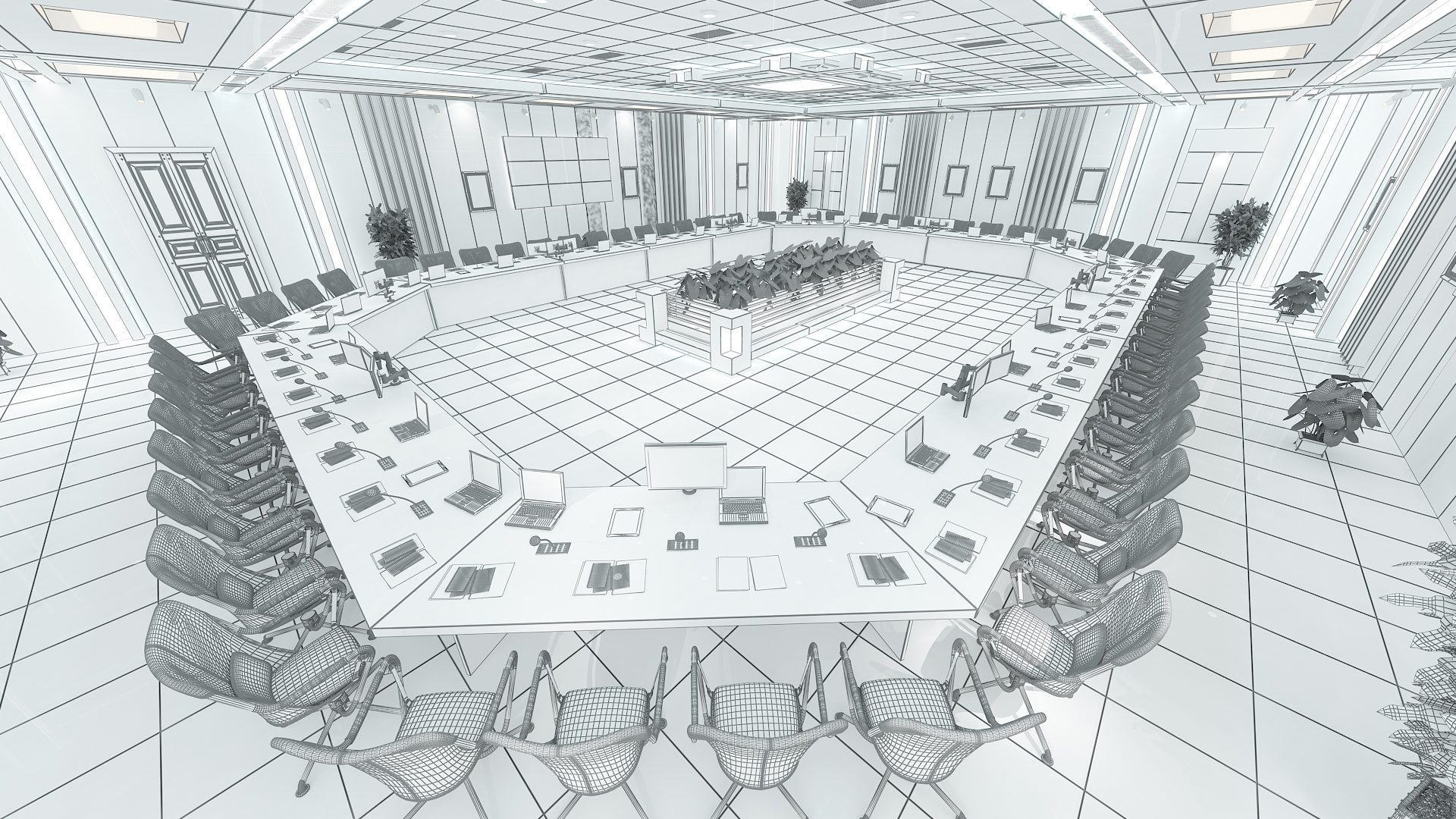 meeting room 1 3d model 3ds max dxf dwg 288117