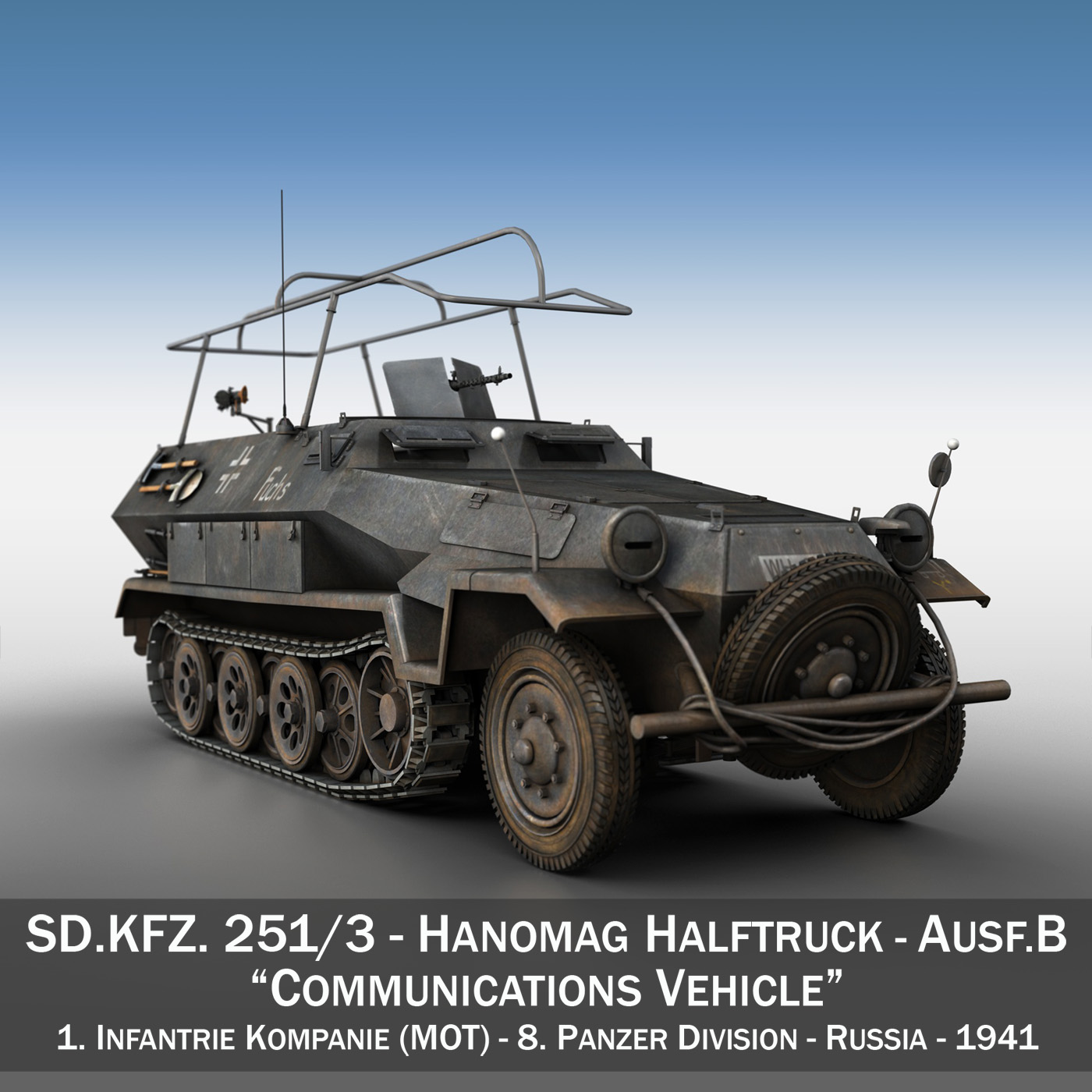 sd.kfz 251 ausf b – communications vehicle – 8pd 3d model 3ds fbx lwo lw lws obj c4d 292024